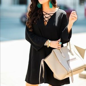 Astr black lace up shift dress small